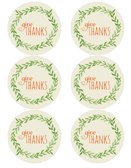 Round labels to give thanks