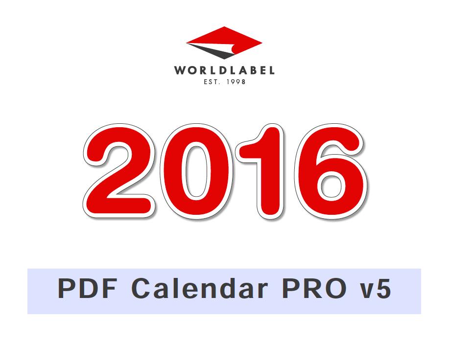 2016 PDF calendar