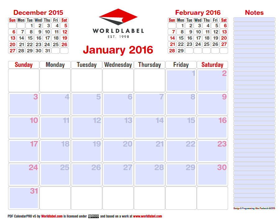 2016 editable pro fillable pdf calendar template