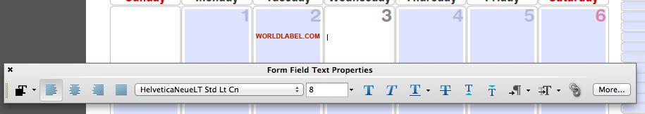 calendar fonts