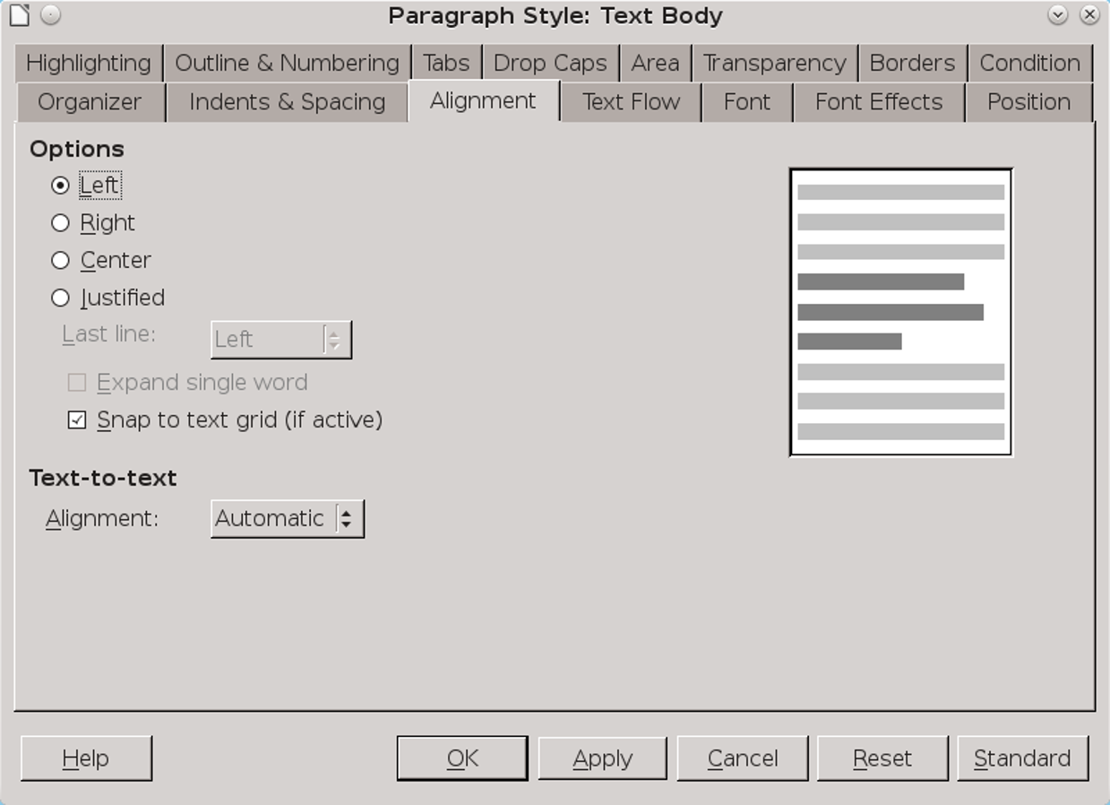 Choosing line alignment in LibreOffice | Free printable labels
