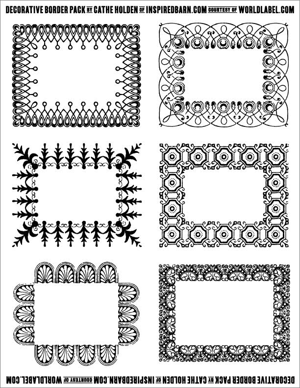 free decorative border pack graphics by cathe holden
